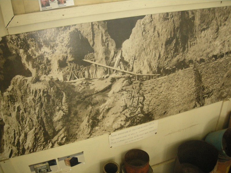 A photo on the museum wall of the mines in operation - these are the same mines we just visited.