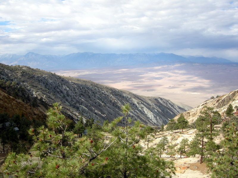 Looking back down to the owen's valley and across to a stormy sierra. <br /> <br /> This mine is on the western slope of White Mountain, the third highest peak in California (14,246?). We're still about 6000 feet below the summit and still in the sun at this point.