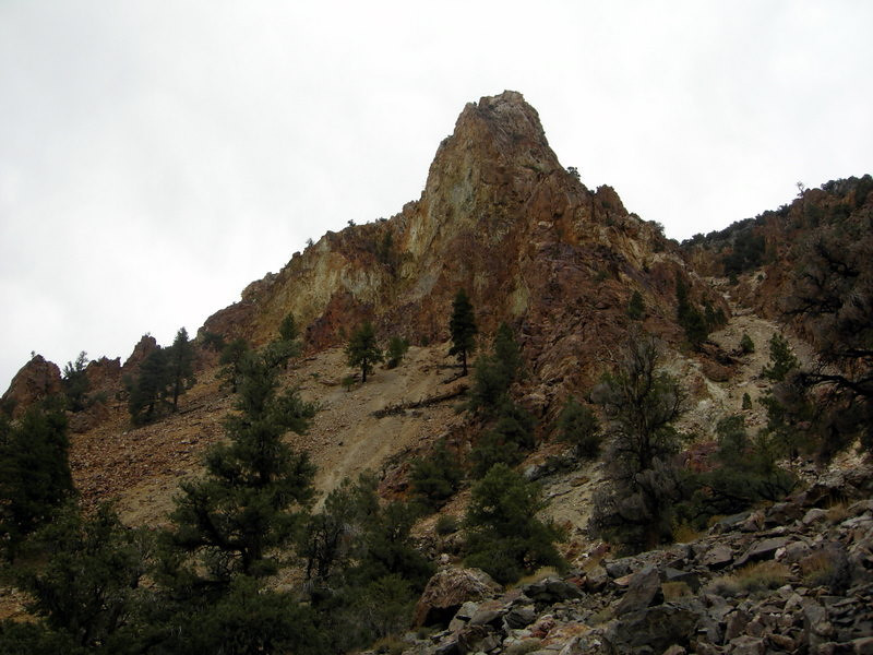 The rock with all of the mines in it - the steep switchbacks we nt up that chute to the right.