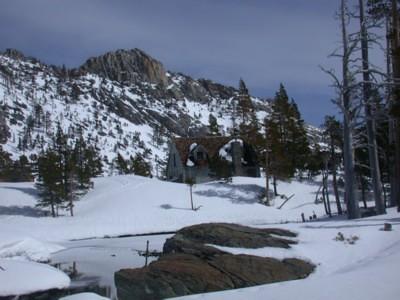 Flagpole Peak and cabin
