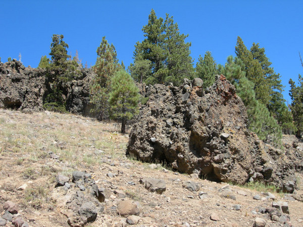 Volcanic rock toward end of trail
