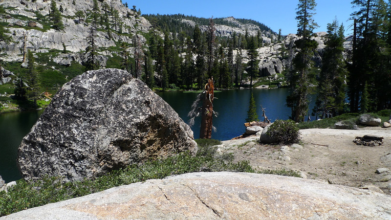 Camp Lake (where, ironically, there is no camping). We decided to  turn towards Bear Lake instead of our original plan that would have taken us across Piute and Cherry creeks. Reports of chest deep crossings + being noon, we took the easy choice.