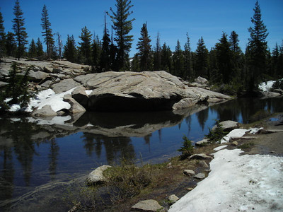 Lots of seasonal and small ponds along the trail, and snow patches were still common