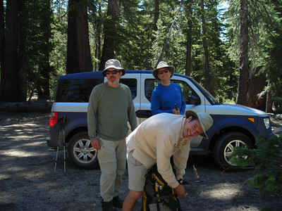 Packing up at the Gianelli Cabin Trailhead after the ride in in Tom's new Hiker Hauler.