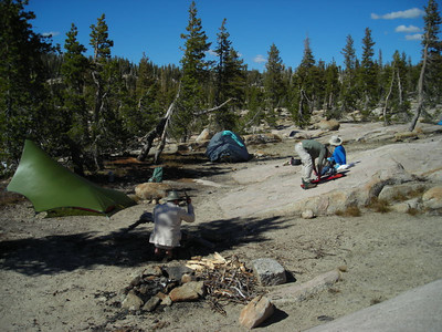 The lake shore was mostly rocky, though the skeeters still were around.  We set up camp a few hundred feet from the water edge.
