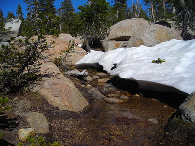 Snow cave over running snowmelt stream.