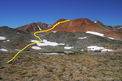 My approximate route. I found an excellent use trail that got me up the hill in no time.