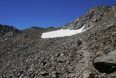 Just below the unnamed pass. Good trail the whole way.