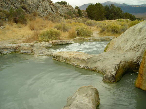 Travertine Hot Springs<br /> <br /> Was limited in angles I could photograph thanks to the naked hot tubbers. Nothing wrong with that...