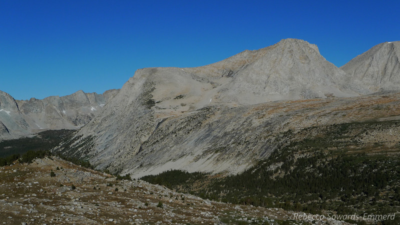 Merriam Peak and French Canyon. Royce peak, yesterday's climb, is a bit cut off on the right