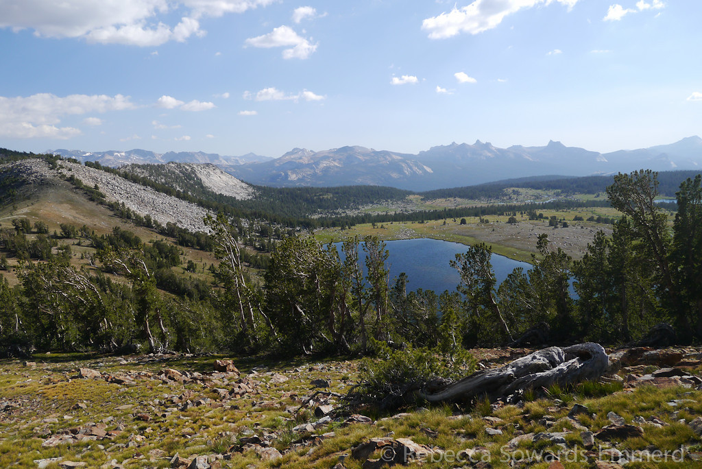 Looking down on the main Gaylor Lake, with Yosemite's super-impressive Cathedral range in the distance.