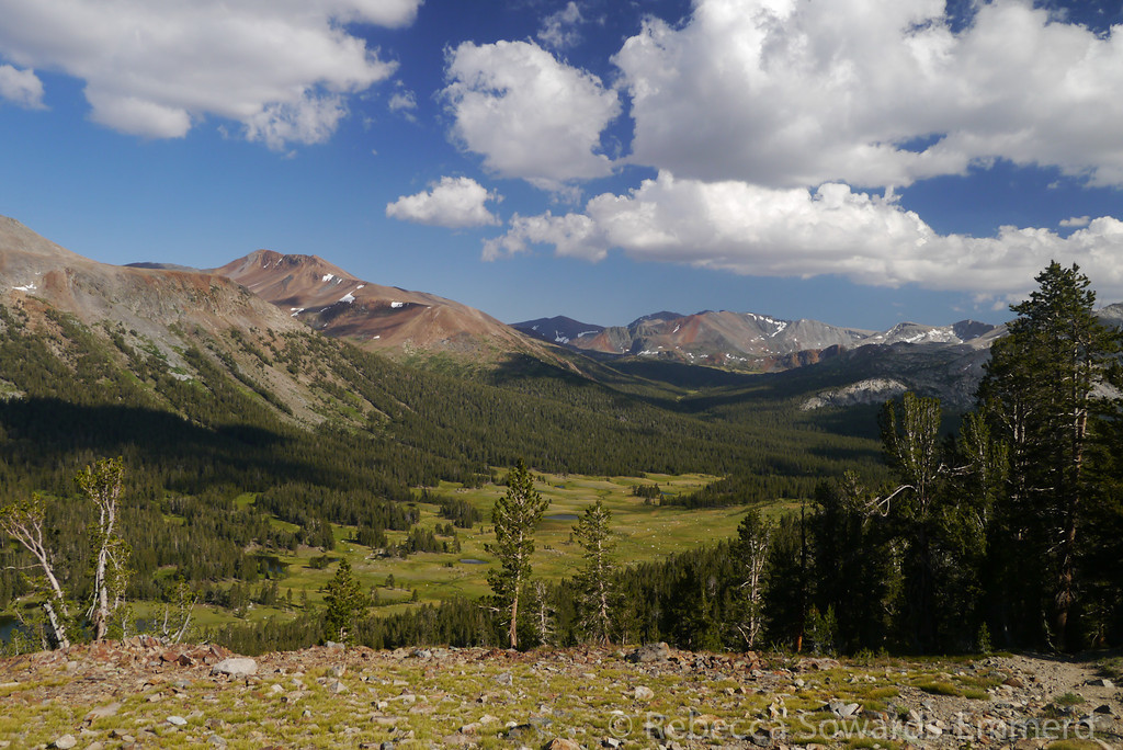 A view up Dana Meadows and Parker Pass Creek to Kuna Crest
