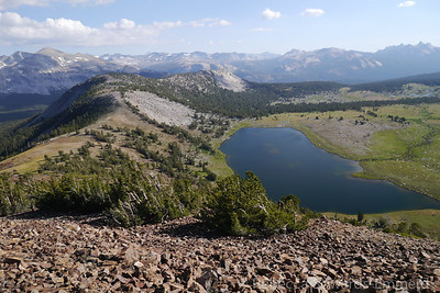 Gaylor Lake and Yosemite peaks from the summit.