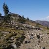 After a short climb you reach the open pass/plateau below Gaylor Peak.