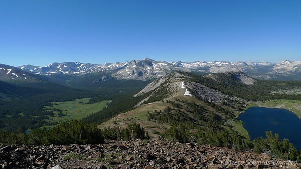 Looking back down the ridge. Dana meadows to the left. Gaylor Lake to the right.