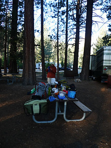 We originally wanted to stay at Junction campground near TPR but it was full. We weren't able to find a spot until Lower Lee Vining, and we were crammed between RVs.
