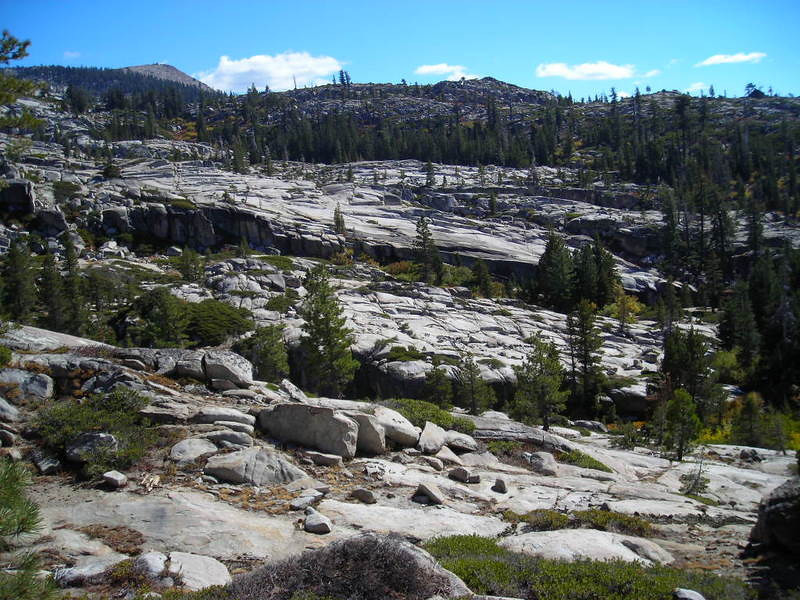Desolation Wilderness<br /> <br /> Typical Desolation sight - glacial polished granite with boulders deposited all willy-nilly.