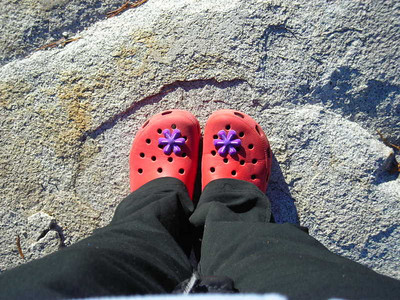 My croc charms  As if the red clown shoe look wasn't bright enough...