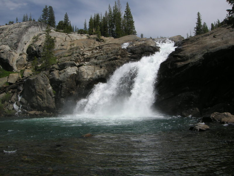 Falls and clear pool at Glen Aulin