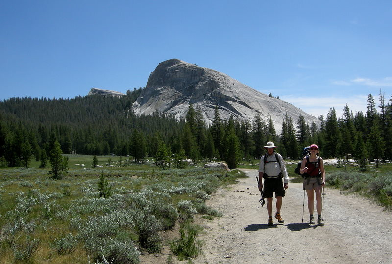 Starting off from Tuolumne meadows<br /> <br /> Frank and Pavla chat