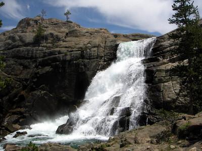 Tuolumne Falls  The falls tumble into the White Cascade, which drop into Glen Aulin
