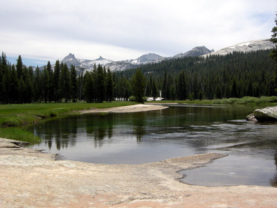 Tuolumne river, calm along here.  The Cathedral Range still provides background scenery