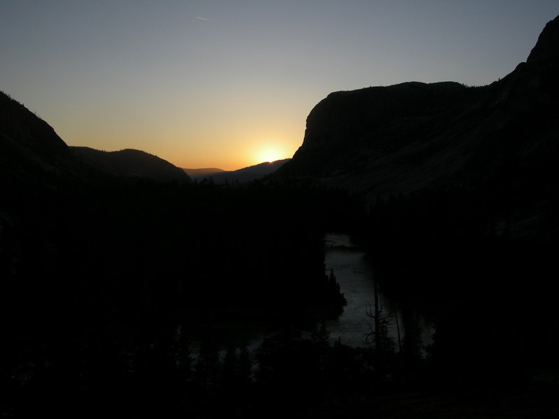 Sunset and tuolumne river