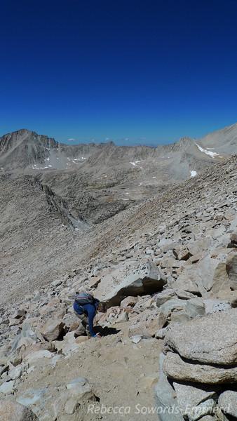 Sooz working her way up the peak.