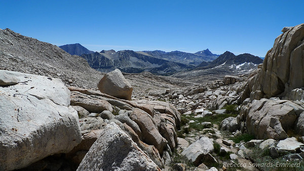 View eastward from just below Italy Pass. Mt Tom is on the distant left, Four Gables in the middle, Mt Humphreys on the right.