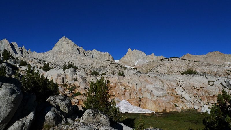 View towards Feather and other Peaks from our campsite in Granite Park