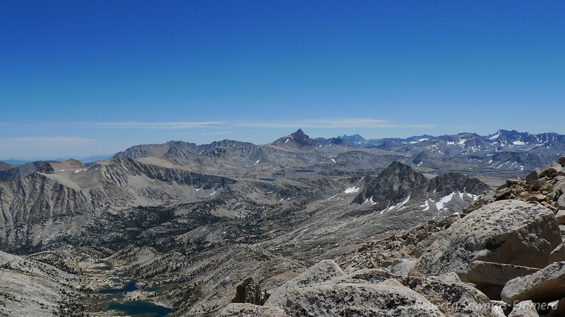 Huge views from up here! Mt Humphreys in the center. Glacier Divide on the right half.