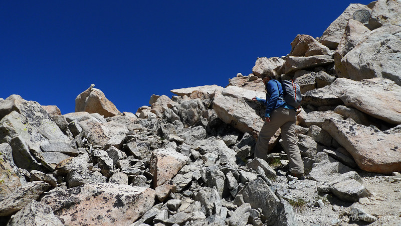 We leave our heavy packs behind a rock at Italy Pass and throw on our summit packs for the first of many times on this trip. It's about 700 feet of climbing to the summit of Mt Julius Caesar and it's pretty straightforward - just a bunch of solid class 2 talus and some dirt.