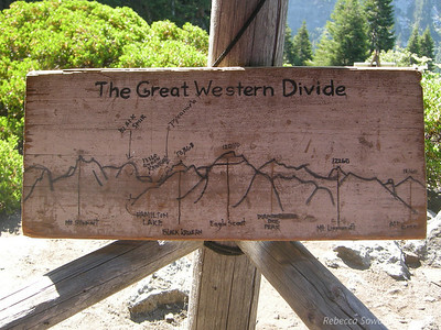 A hand carved sign of the skyline is useful for picking out peaks. We'll be heading up towards Hamilton and the Kaweahs.