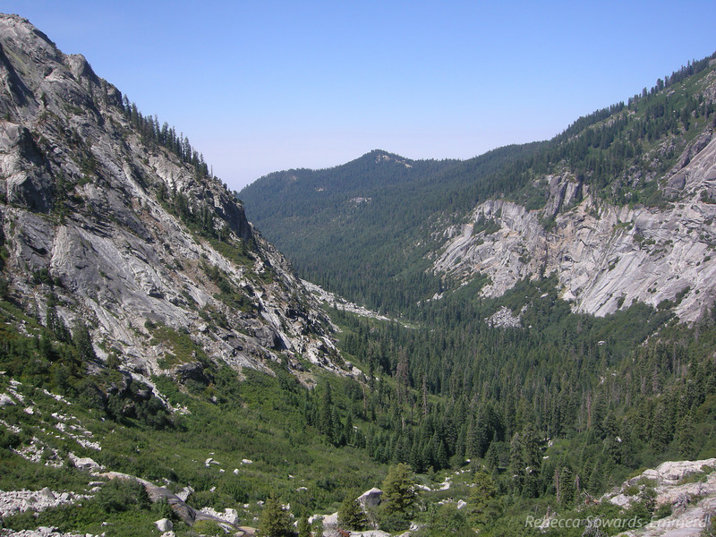 Looking down the Kaweah River valley towards the direction from which we came.