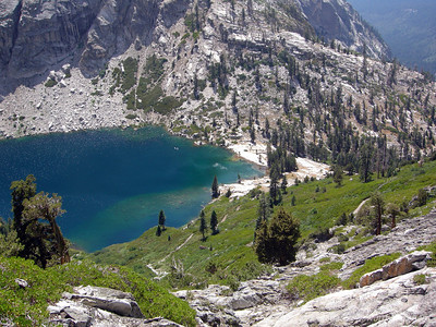 View of the Upper Hamilton Lake as we climb. Nice swim - I'm already missing the cold refreshing water.