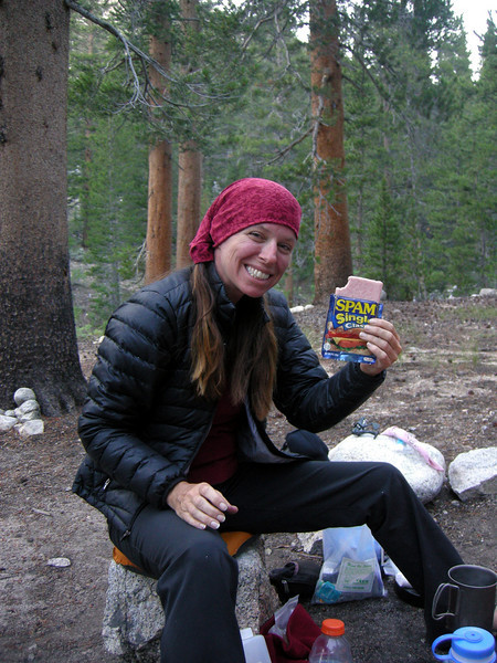 I learned how to make paige happy in the backcountry. Spam and a strawberrry starburst