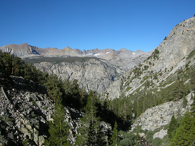 View back toward the Kaweah Ridge. Just to note - Big Arroyo, what we hiked down on Day 3, is on the other side of that ridge. The High Sierra Trail is by no means direct - it does a big zig zag across the sierra.