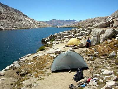 Camp all set up at Guitar Lake. View of the Kaweahs