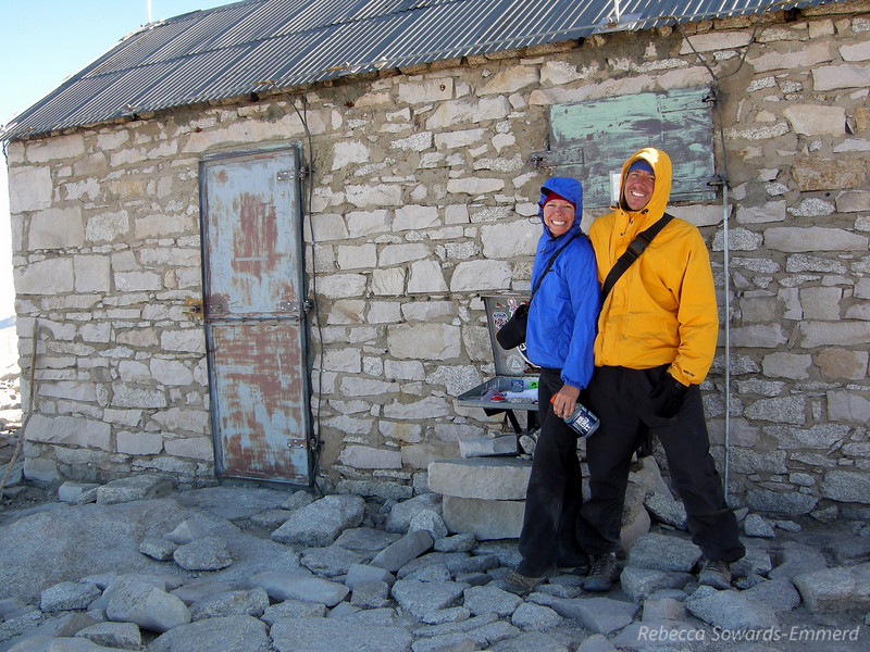 Paige and Greg at the Smithsonian Hut on the summit