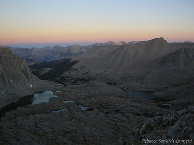 Taken about 2 minutes after the official sunrise, I can see the morning alpenglow on the distant peaks.