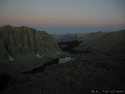We started from camp at Guitar Lake at 4:50 am so there wasn't enough light for photos until about an hour later after we'd gained a bit of altitude. Sunrise was at 6:10 am.