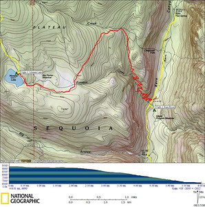 GPS track of today's hike to Kern Canyon  6.01 miles, 18' gain, 2630' loss
