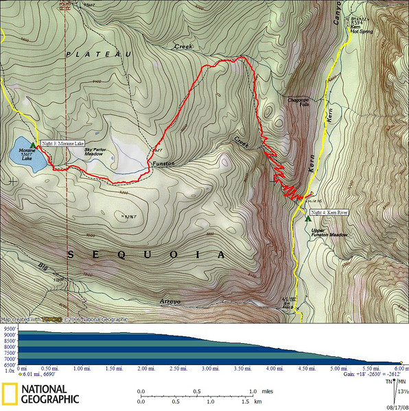 GPS track of today's hike to Kern Canyon<br /> <br /> 6.01 miles, 18' gain, 2630' loss