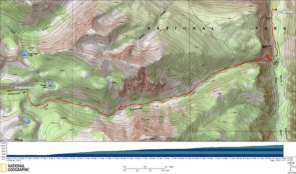 Track for today's hike  9.6 miles, 3679' gain, 147' loss