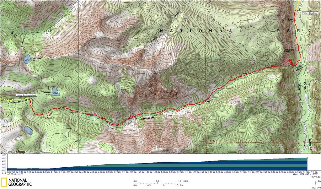 Track for today's hike<br /> <br /> 9.6 miles, 3679' gain, 147' loss