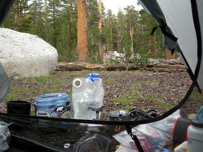 View from my Tarptent  It rained/hailed from 3 to 6:30 pm.