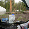 View from my Tarptent<br /> <br /> It rained/hailed from 3 to 6:30 pm.