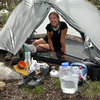 Making coffee in camp just below Franklin Pass<br /> <br /> We setup camp just in time for the afternoon rain and hail storm.