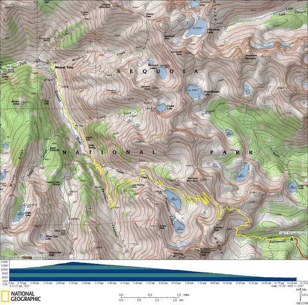 The last day's GPS track<br /> <br /> 11.27 miles, 1726' gain, 4093' loss