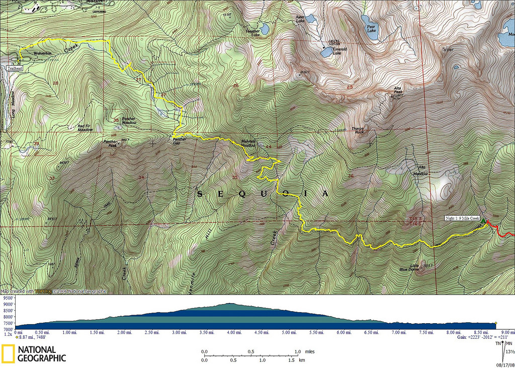 Track recorded by my GPS during today's hike.<br /> <br /> 8.87 miles, 2223' gain, 2012' loss